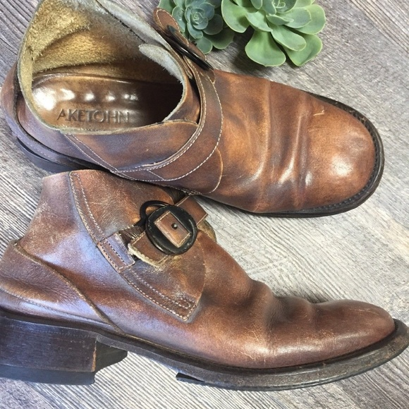 ae5d6b2d49b9b Aketohn Distressed Italian Leather Metro Boots
